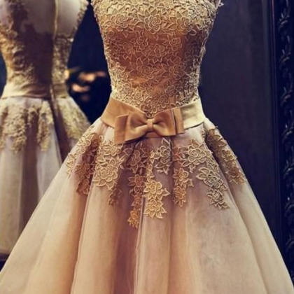 Gold Homecoming Dresses,Lace Homeco..