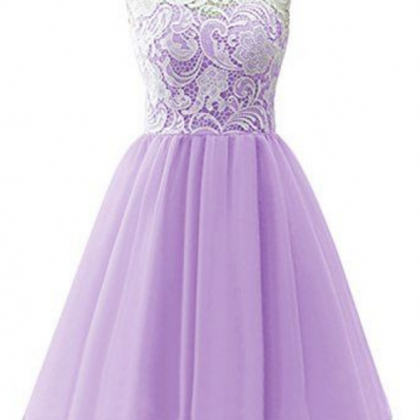 Lavender Homecoming Dresses,Lace Ho..