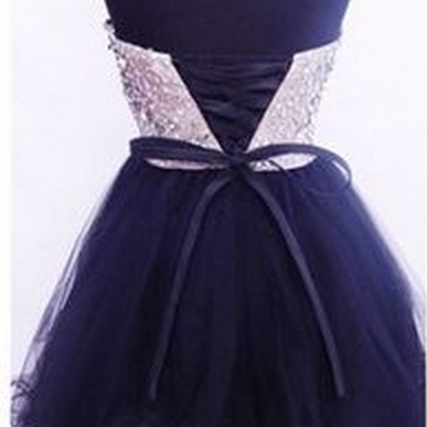 Beaded Blakc Homecoming Dress,Short..