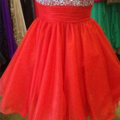 Red A-Line Homecoming Dress,Tulle H..