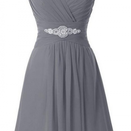 V-neck Simple Grey Chiffon Beading ..