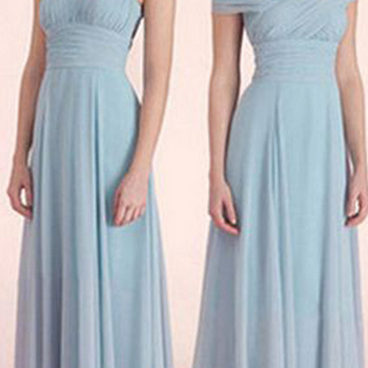 long bridesmaid dresses ,dusty blue..