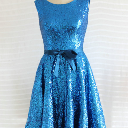 Sequin bridesmaid dress, knee-lengt..