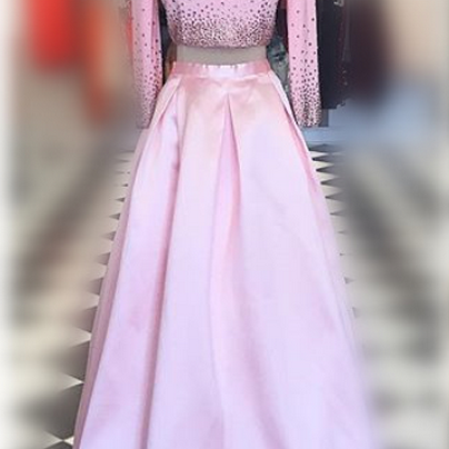 Pink Prom Dresses,Two Pieces Prom D..