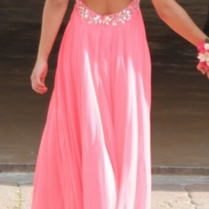 Pink Backless Prom Dresses,Open Bac..