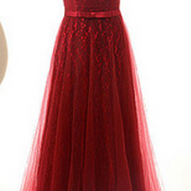 Red Lace Sweetheart Floor Length Tu..