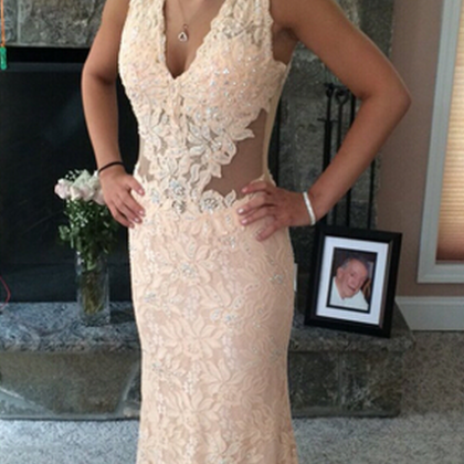 Lace Prom Dress,NewV-Neck Lace Prom..