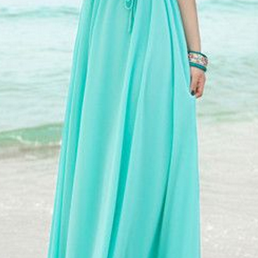 Simple Style Blue Chiffon Prom Dres..