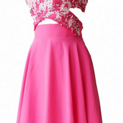 Pink Homecoming Dresses Open Back S..