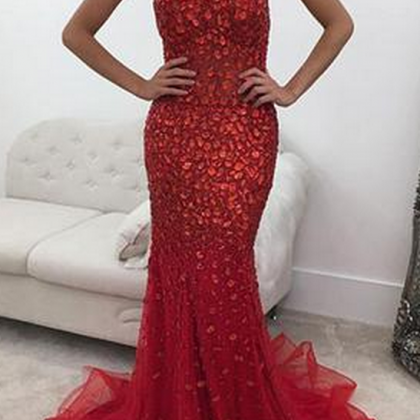 Beaded Prom Dress,Mermaid Evening D..