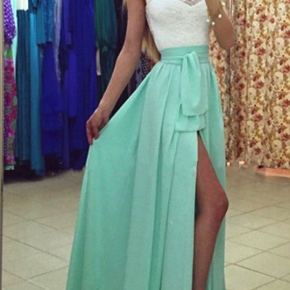 Beach Long Lace with Chiffon Prom D..
