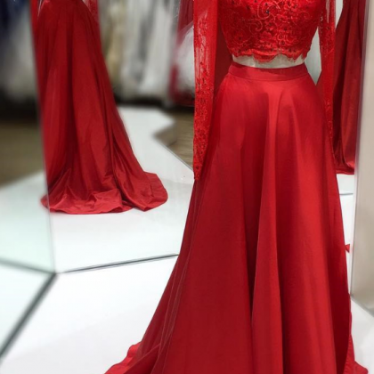 lllusion Red Two-Pieces Prom Dress ..