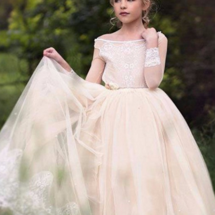 Flower girl dress,champagne flower ..