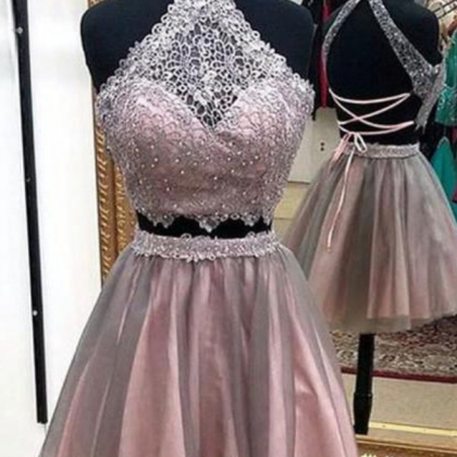 Cute lace tulle short prom dress, ..