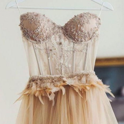 champagne sweetheart lace tulle lon..
