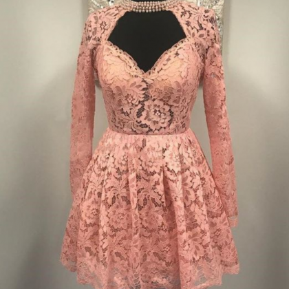 Sweetheart Long Sleeves Lace Short ..