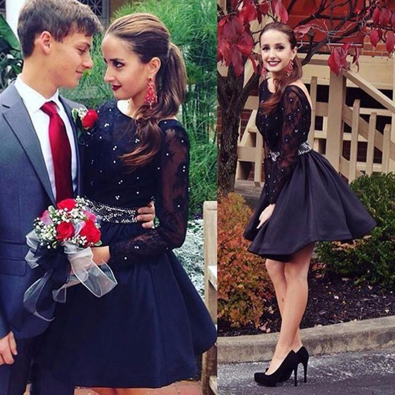 55e1e3946e4 Black Scoop Neck Long Sleeve Short Homecoming Dress With Lace Bodice Beaded  Waistline Short Party Dress
