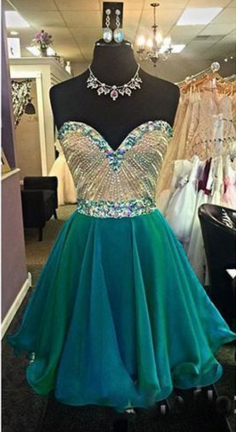 Custom Made Emerald Green Crystal and Rhinestone Beaded Short Homecoming Dress