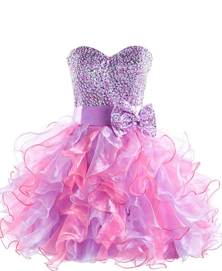 Purple Tulle Homecoming Dress,Sweetheart Ruffles Homecoming Dresses