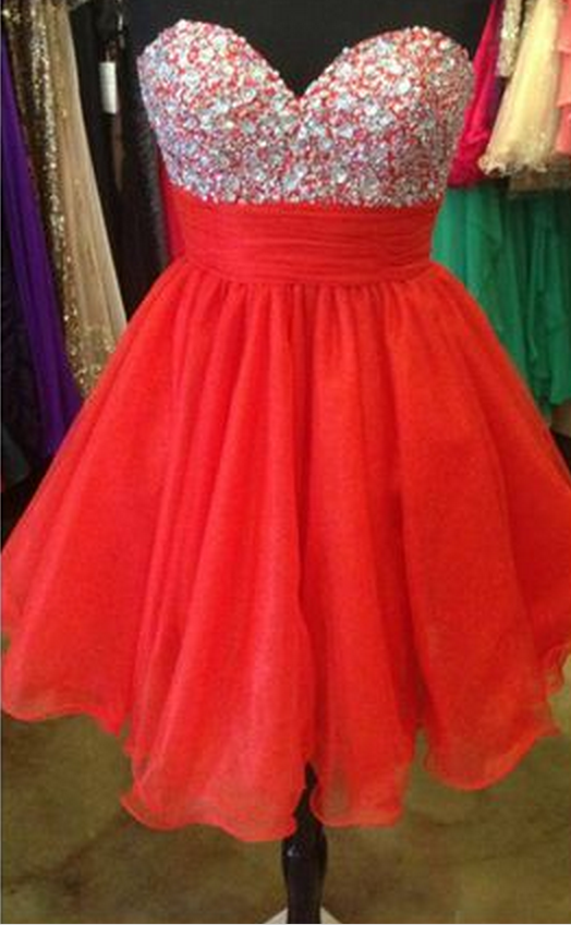 Red A-Line Homecoming Dress,Tulle Homecoming Dresses