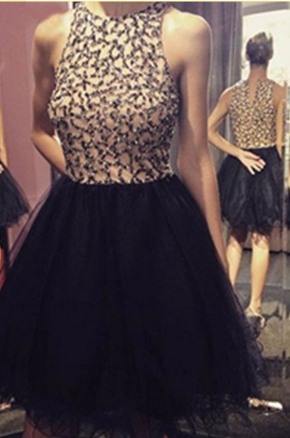 Black Beaded Short Handmade Homecoming Dresses,Cocktail Dresses,Party Dreses Short Prom Dresses