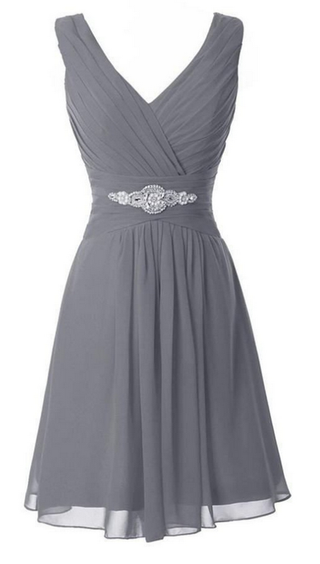 V-neck Simple Grey Chiffon Beading Comfy Homecoming Dresses K411