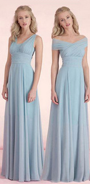 long bridesmaid dresses ,dusty blue bridesmaid dresses,chiffon bridesmaid dresses , cheap