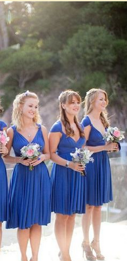 Sexy Bridesmaid Dress,V Neck Bridesmaid Dresses,Cap Sleeve Short Bridesmaid Dress