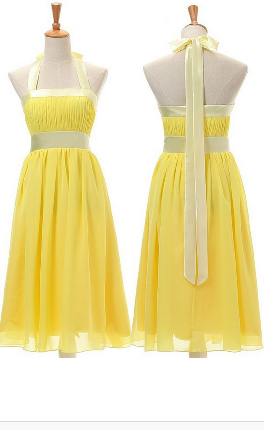 Yellow Bridesmaid Dress,Yellow Prom Dress,Sexy A-Line Bridesmaid Dress,Halter Knee Length Bridesmaid Dress with Sash,Knee Length Prom Dresses