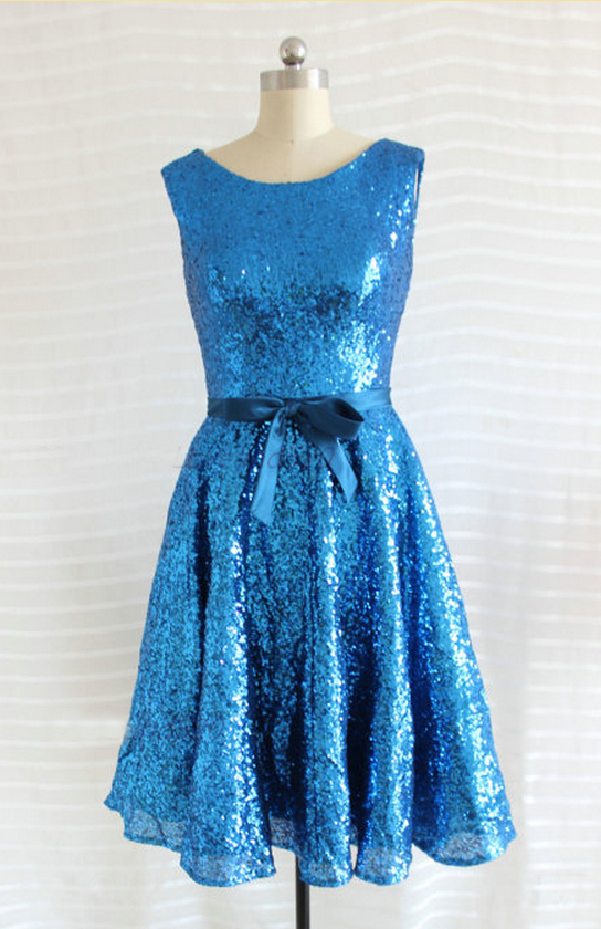 Sequin bridesmaid dress, knee-length bridesmaid dress, blue bridesmaid dress,