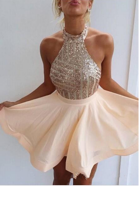 Short Sexy Beading Sequins Homecoming Dresses,Backless Homecoming Dress,Champagne Party Dress