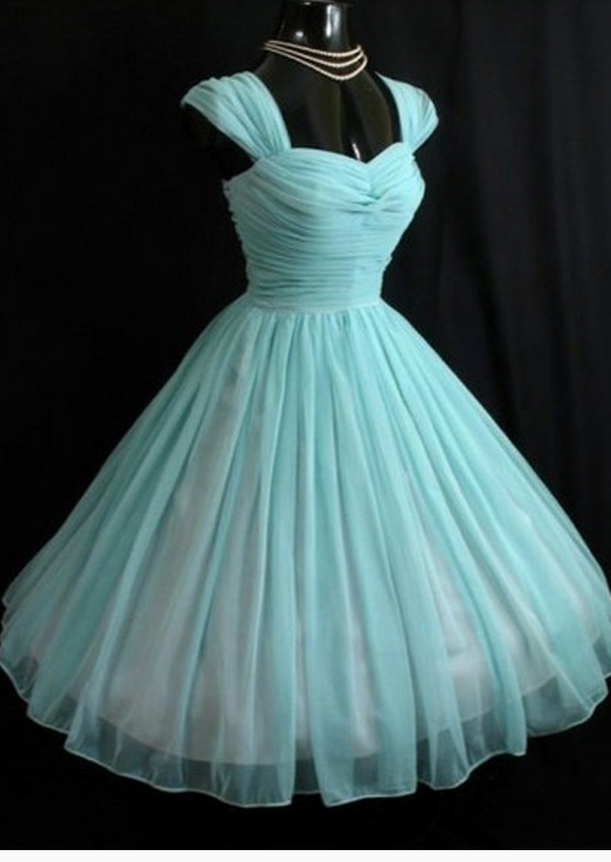 Vintage Turquoise Homecoming Dress,Chiffon Capped Sleeve Homecoming ,Cocktail Party Dresses