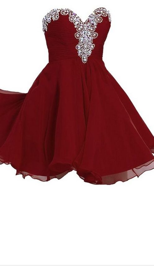 Burgundy Homecoming Dress,Wine Red Homecoming Dresses,Beading Homecoming