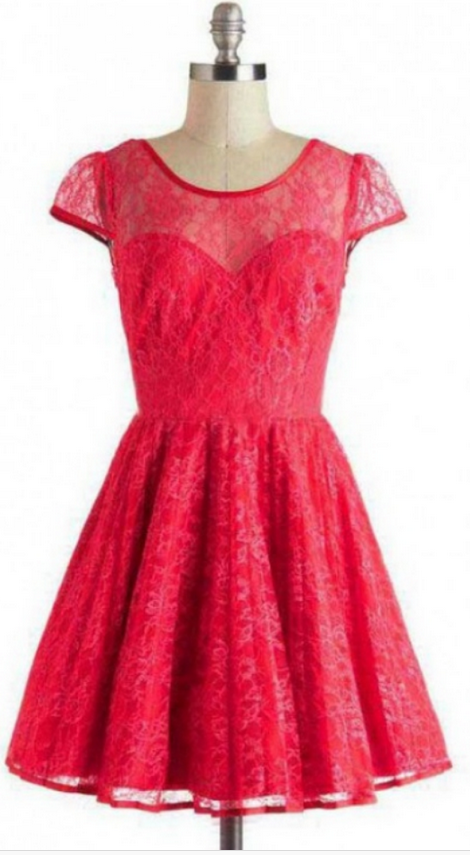 Short Lace Homecoming Dress Customized, Cap Sleeves Short/Mini Lace Backless Dresses
