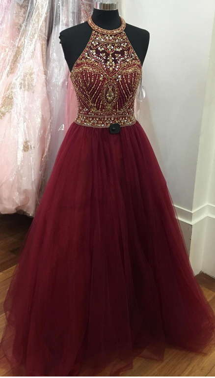 Gorgeous Beaded Burgundy Prom Dress, Tulle Halter Pageant Gown
