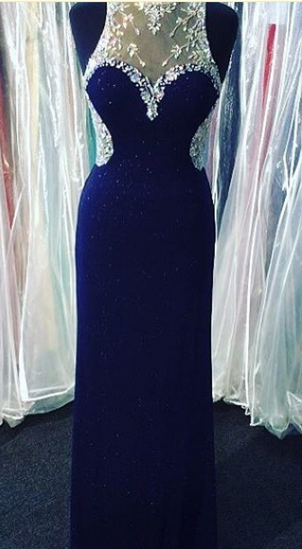 Royal Blue Prom Dresses,Royal Blue Prom Dress,Silver Beaded Formal Gown,Beadings Prom Dresses,Evening