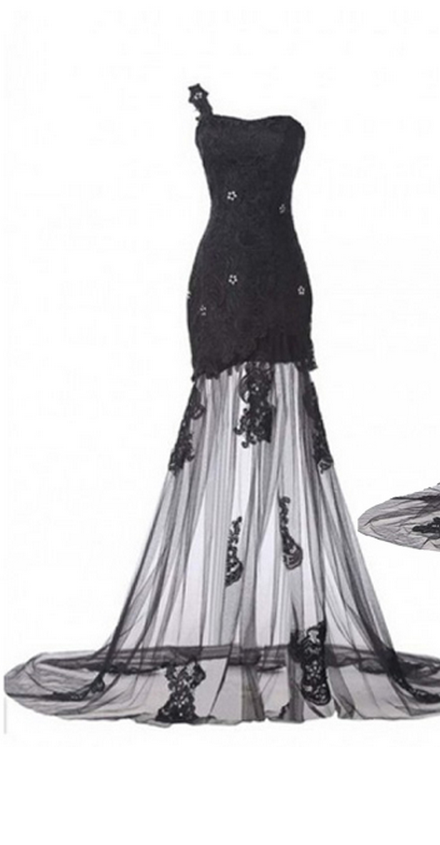 One-shoulder Beaded Black Floor-length Prom Dress with Lace Appliques and Sweep Train