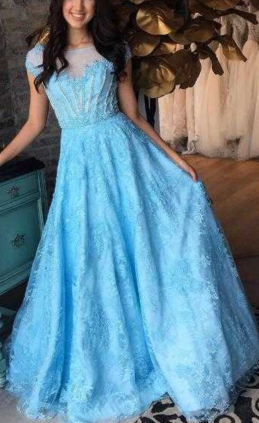 Bule prom dress,High Quality Cap Sleeves Sheer Neck Beading Long Prom Dresses Eneving Dresses for Women