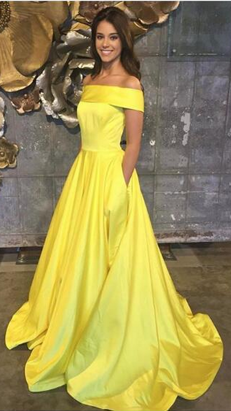 e37fed99aa82 Sexy Prom Dress Evening Dress A-line Yellow Off Shoulder Satin Long Prom  Dresses Evening