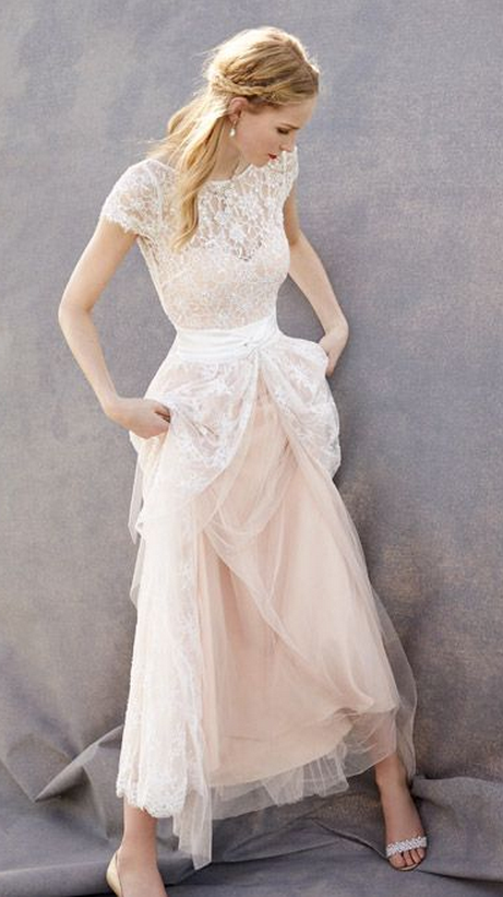cfa8d0d6eb18 Lovely Wedding Dresses,Blush Pink Wedding Gown,Tulle Wedding Gowns,Lace  Bridal Dress,Romantic Wedding Dress,Unique Blush Pink Brides Dress,Cap  Sleeves ...