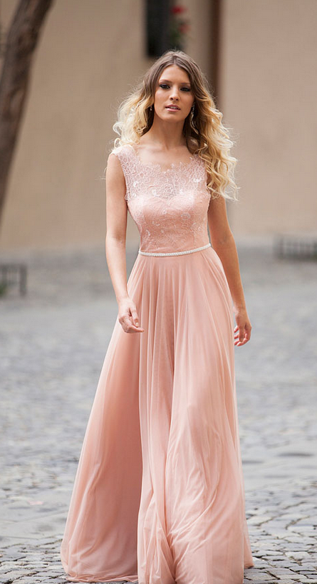 Open Back Illusion Boat Neck Sleeveless Long Prom Dress with Lace Bodice Chiffon dre
