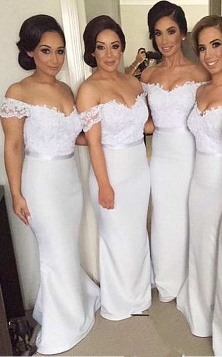 Custom Made White Off-Shoulder Lace Mermaid Evening Dress, Bridesmaid Dresses, Bridal Collection, Prom Dresses