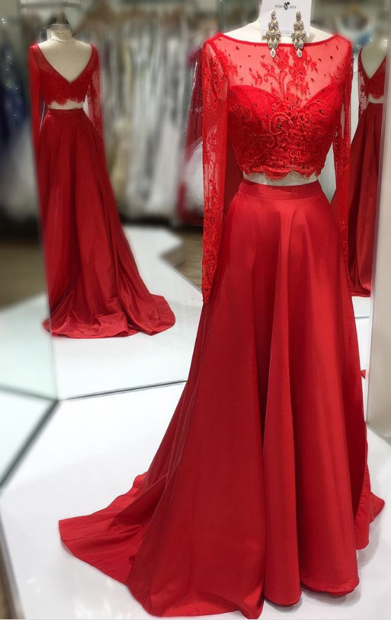 lllusion Red Two-Pieces Prom Dress with Long Sleeves