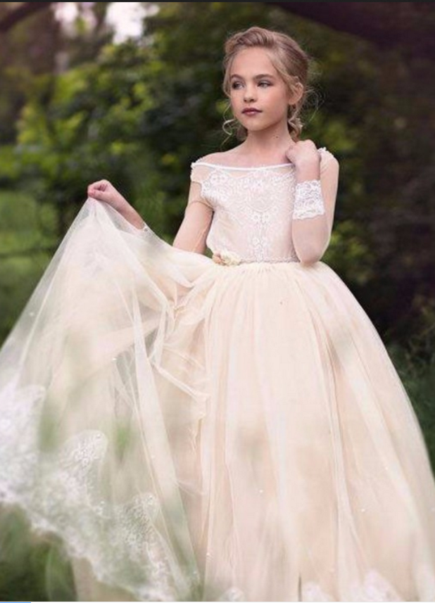 Flower girl dress,champagne flower girl dress,princess flower girl dress,girls party dresses, girls christmas dresses, flower girl dress, girls first communion dress, junior bridesmaid dress,girls wedding party dress,girls pageant dress.Lace Flower Girl Dresses
