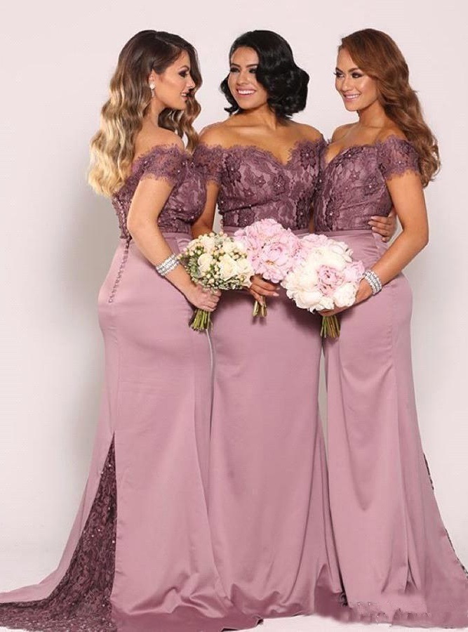 Off The Shoulder Plus Size Bridesmaid Dresses New Vintage Lace Top
