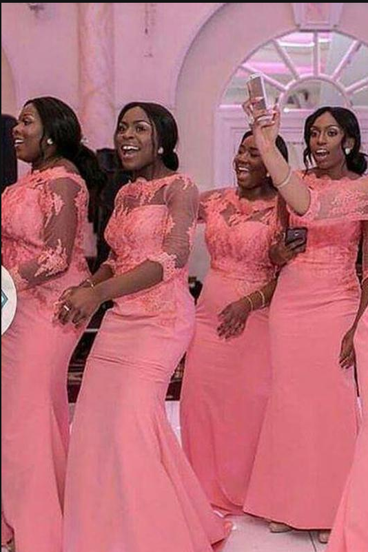 b0a33b94668f Elegant Coral Long Bridesmaid Dress 3 4 Sleeves Nigerian Wedding Ceremony Dress  Maid of Honor Wedding Party Bridesmaid Dresses