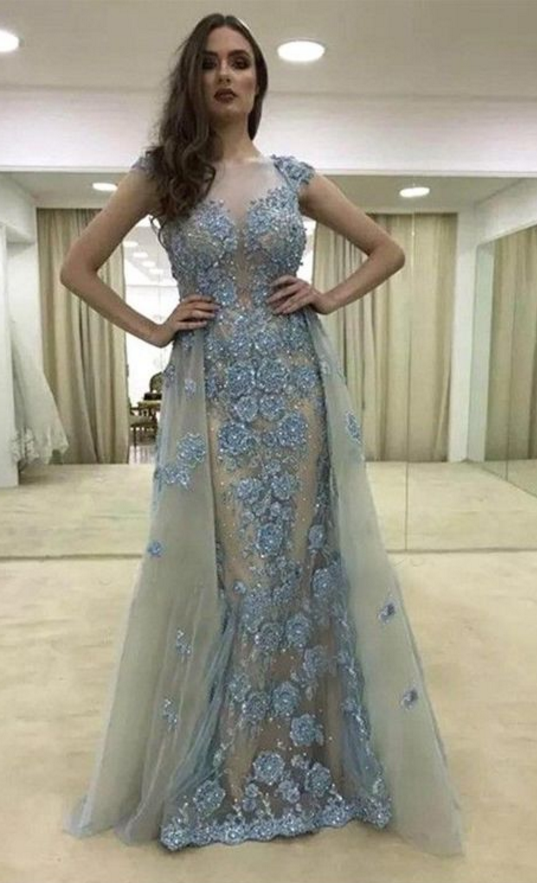 d56d3f3d39ae elegant light blue tulle prom dress with beading, fashion cap sleeves party dress  with lace