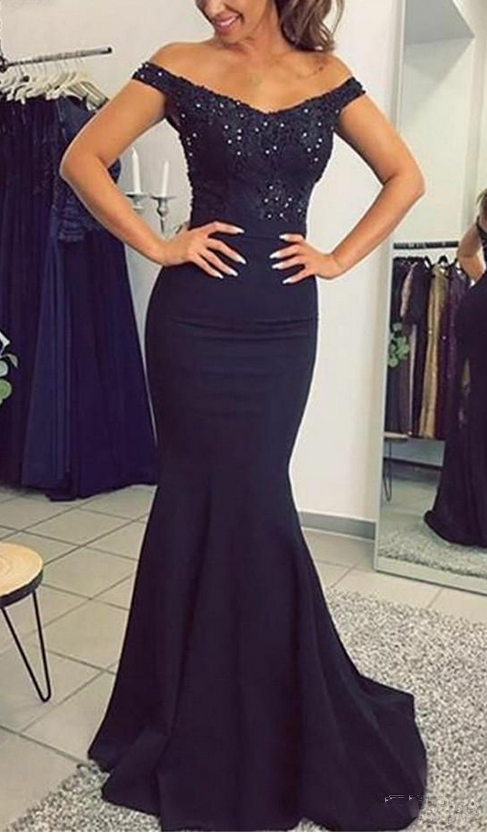 Mermaid Prom Dresses with Appliques Beaded Elastic Satin long dresses evening Backless Dark Blue Evening Dresses Long For women