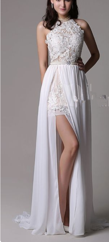 992af8d8130 White Prom Dresses Long Ivory Halter Backless Evening Dress Lace Applique  Beading Chiffon Split Party Dress
