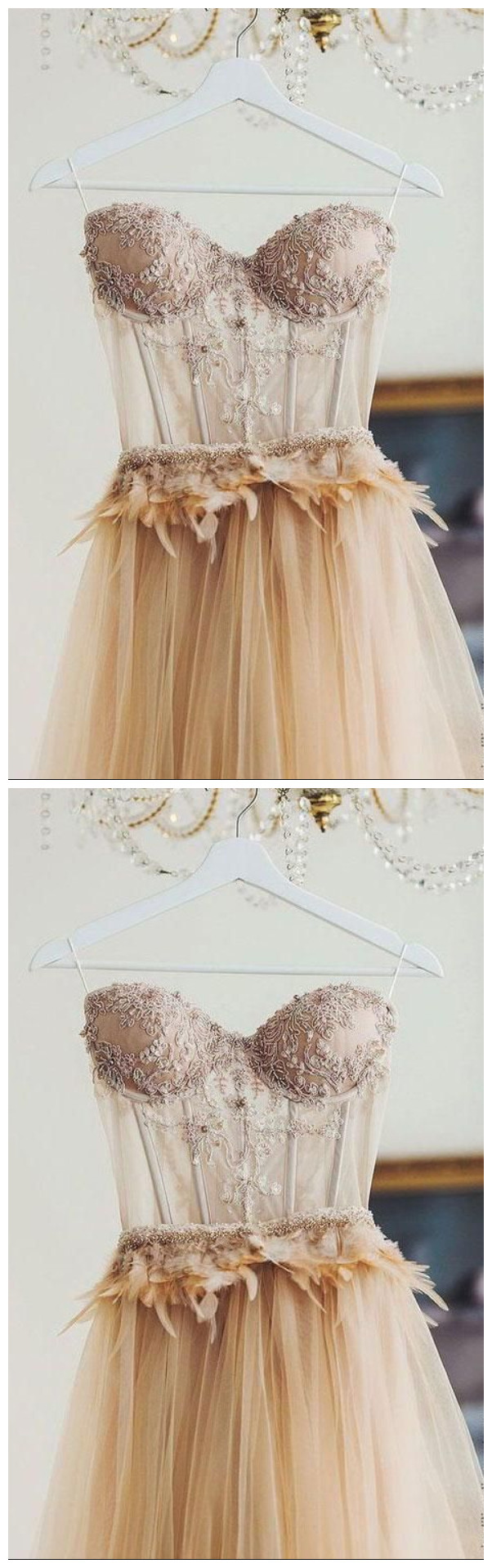champagne sweetheart lace tulle long prom dress, tulle evening dress